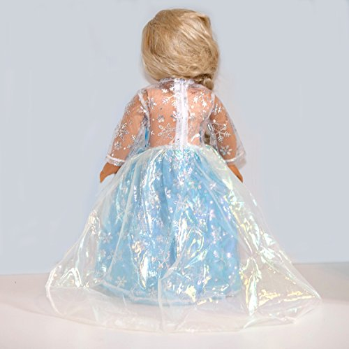 Frozen Inspired Elsa Outfit with Dazzling Tiara for American Girl Dolls by Lilly and the Bee Novelties (TM)