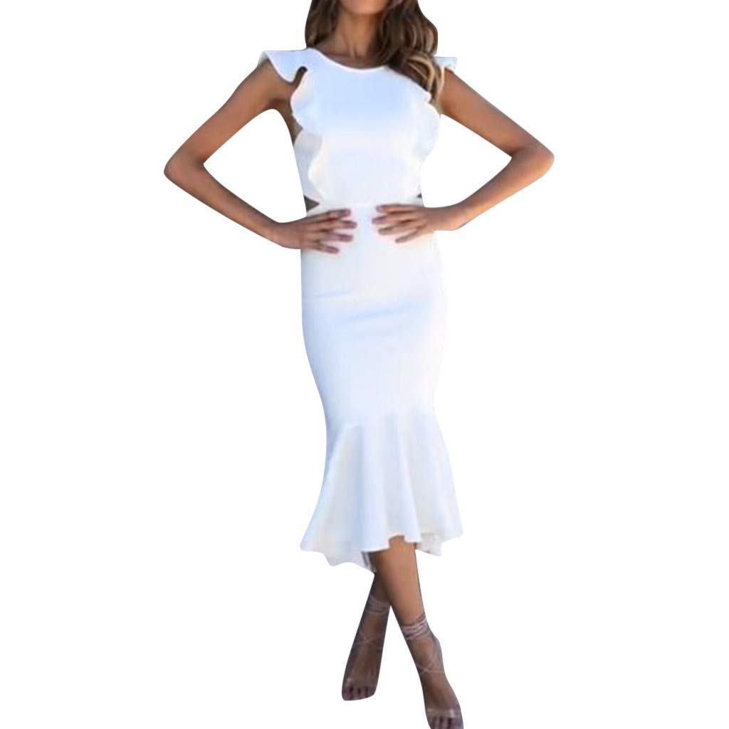 Women Evening Party Ruffle Dresses,Mosunx Ladies Solid Color Sleeveless Dinner Dresses (S, White)