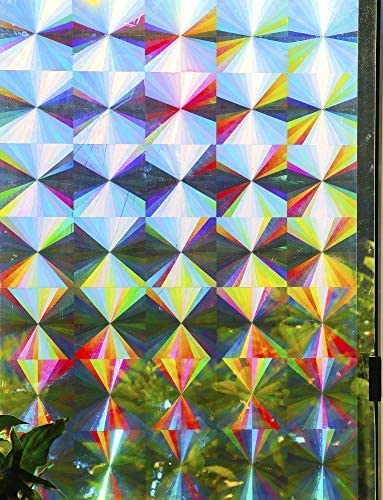 Decorative Rainbow Window Film Holographic Prismatic Etched Glass Effect – Fill Your House with Rainbow Light 24 X 36 Panels – Radial Pattern