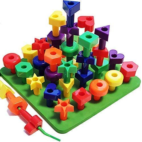 Peg Board Stacking Toddler Toys - Lacing Fine Motor Skills Montessori Toys for 2 3 4 5 Year Old Girls and Boys | Educational Matching Shapes Kids Toys with 36 Pegs, Activity eBook & Travel Backpack ()