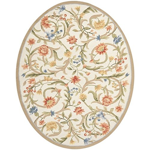 (1 Piece 5'3 x 7'3 Cream White Floral Oval Rug, Red Blue Flower Pattern Oblong Carpet Ivory Scrolls Motif Flowers Themed Carpeting Modern Shabby Chic Floral Patterned French Country, Wool)