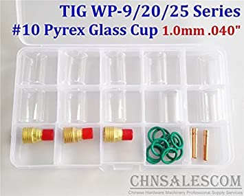 21 pcs TIG Welding Torch Gas Lens #10 Pyrex Glass Cup Kit for WP-9//20//25 Series