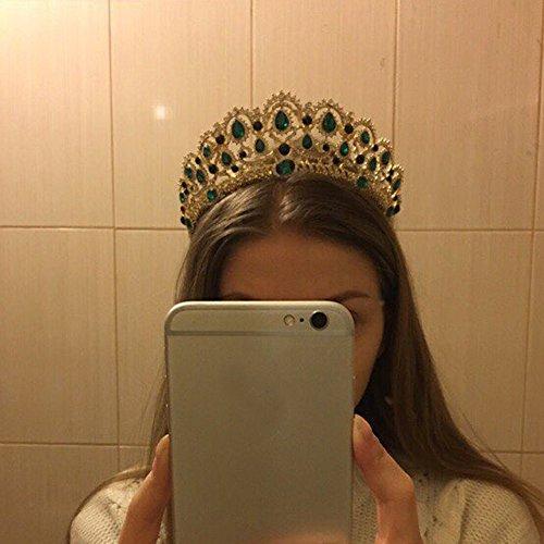 KMVEXO Baroque Royal Queen Gold Wedding Crown Crystal Princess Tiara Headbands for Women Bridal Party Birthday Headpieces