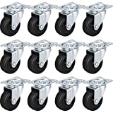 MegaDeal AC201710300001 12 Pack 2'' Swivel Caster Wheels Rubber Base with Top Plate & Bearing Heavy Duty