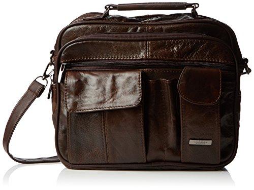 Funda de piel con bolsa de transporte asa de transporte, correa para el hombro desmontable de conectores de audio y con bolsillo para teléfono móvil (marrón oscuro/negro/diseño de piel de). marrón - marrón oscuro