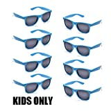 Neon Colors Party Favor Supplies Unisex Sunglasses Pack of 8 for Kids (8 Pack Blue)