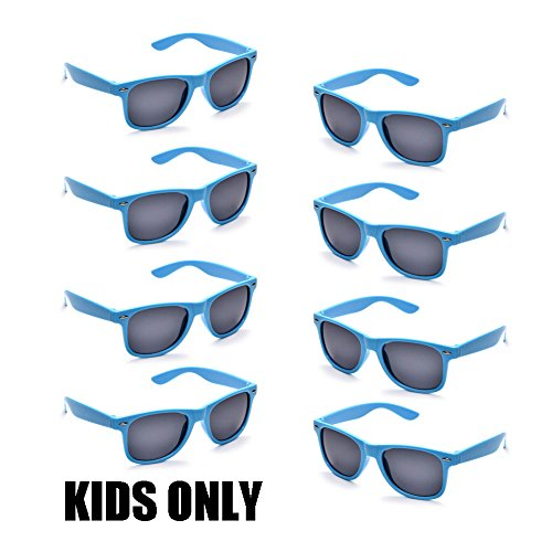 Neon Colors Party Favor Supplies Unisex Sunglasses Pack of 8 for Kids (8 Pack Blue) ()