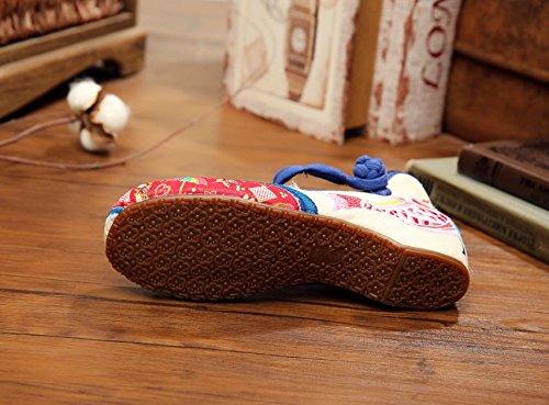 WHH Zapatos bordados, carpa, lino, lenguado, estilo étnico, femenino, moda, cómodo, bailando zapatos white blue