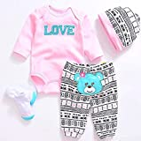 NPK Reborn Doll Girl Baby Clothing Baby Sets Reborn Dolls Baby Clothes Pink Outfits for 20'- 22'