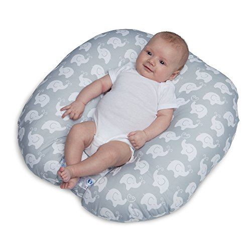 Boppy Original Newborn Lounger, Elephant Love Gray (Flat Spot On Back Of Babys Head)