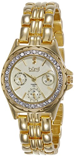 Burgi Women's BUR117YG Diamond & Crystal Accented Guilloche Dial Yellow Gold Bracelet (Gold Guilloche)