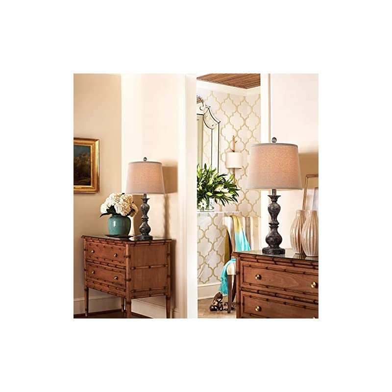 "Farmhouse Table Lamp Set of 2, Rustic USB Bedside Lamp for Bedroom, 26"" Vintage Nightlight Lamp for Living Room Foyer Study Office, Beige Shade, Pack of 2 (Fantasy Black)"