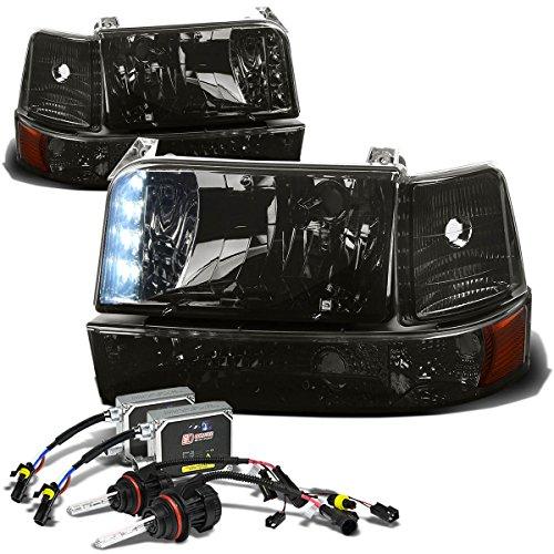 Ford F-Series/Bronco Pair of Smoke Amber Corner LED Headlight+10,000K 9007 Hi-Lo HIDs+Thick Ballasts