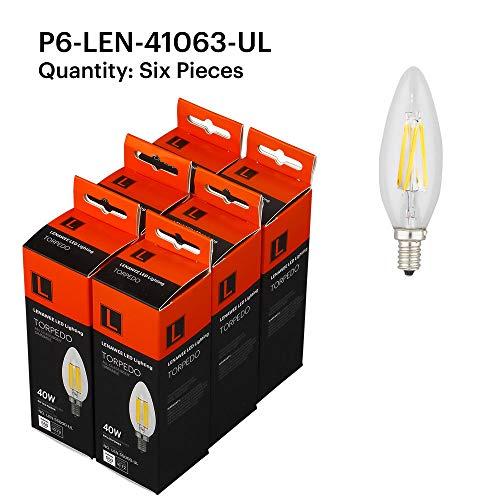 Lenawee P6-LEN-41063-UL 4W Filament Candle Torpedo E12 2700K Light Bulb, 6 Pack Clear
