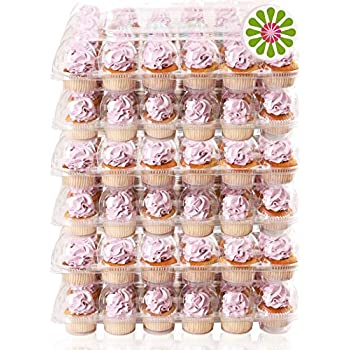 50 x Single Plastic Clear Cupcake Holder Cake Container ED