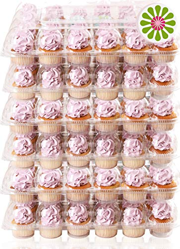 Plastic Cupcake Boxes ((24 Pack x 6 Sets) STACKnGO Carrier Holds 24 Standard Cupcakes - Strongest Cupcake Boxes, Tall Dome Detachable Lid, Clear Plastic Disposable Containers, Storage Tray, Travel Holder, Regular)