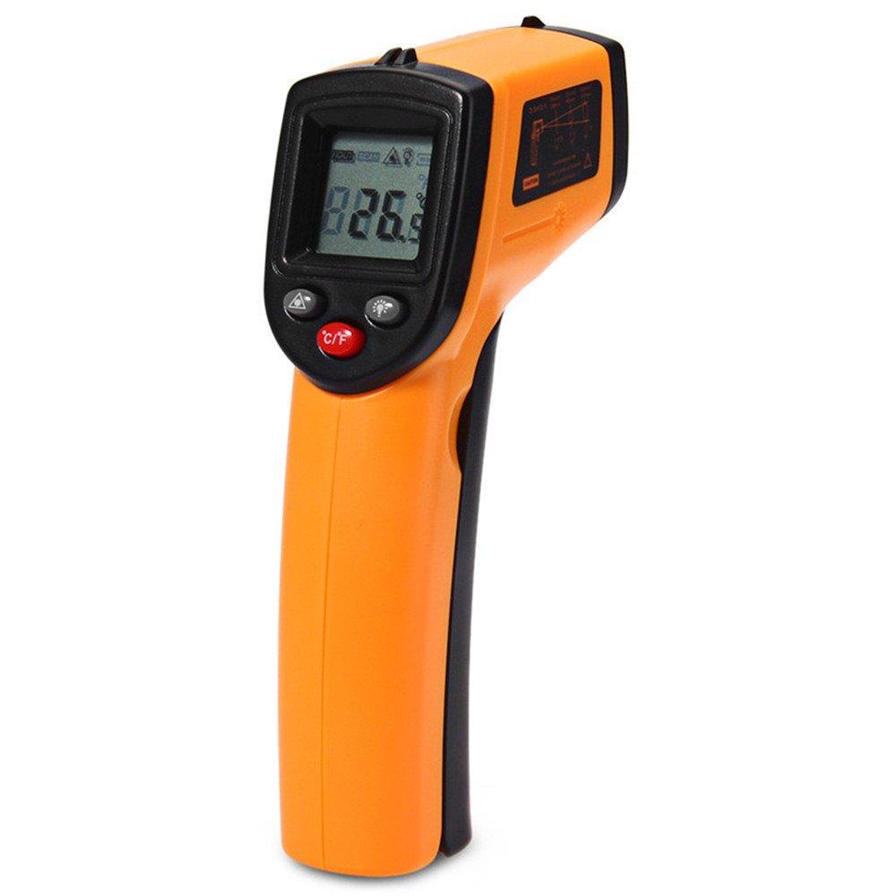 Non-contact Digital Infrared Thermometer IR Temperature Laser Gun Diagnostic-tool Tester Pyrometer Range C/F -50 to 380C /-58 to 716°F Kitchen Cooking (1, Orange)