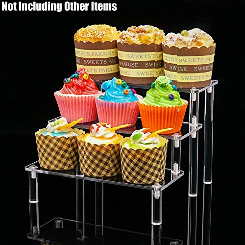 Assembly Not Self - Tingacraft 3-Tier Self-Assembly Acrylic Riser Display Shelf for Cosmetics Cupcake Action Figure