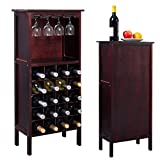 Solid Wood Quality Wine Cabinet - Bottle Storage w/ Wine Glass Rack
