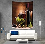 iPrint Polyester Tapestry Wall Hanging,Wine,Glasses of Red and White Wine Served with Grapes French Gourmet Tasting Decorative,Brown Ruby Light Green,Wall Decor for Bedroom Living Room Dorm
