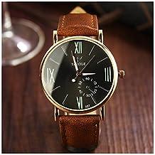 LinTimes Fashion Mens Womens Watch Quartz Analog Roman Numeral Scale Business Casual Wristwatch Brown Band Black Dial