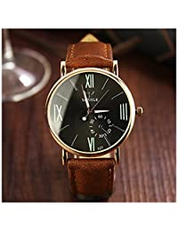 LinTimes Fashion Mens Womens Watch Quartz Analog Roman Numeral Scale Business Casual Wristwatch Brown Band Black Dial