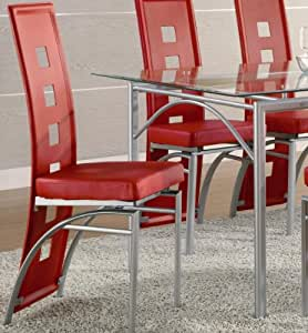 Amazon.com: Coaster Set of 2 Dining Chairs Red Leather ...