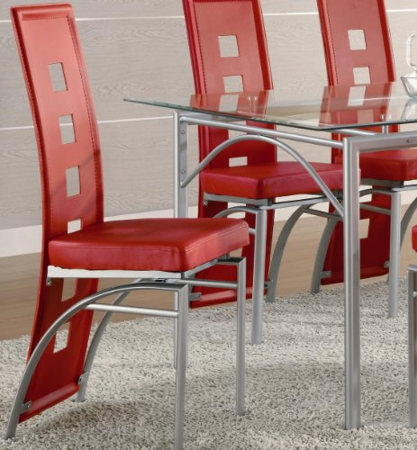 Coaster Dining Chairs Leather Silver