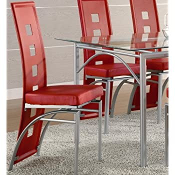 Coaster Set of 2 Dining Chairs Red Leather Like Metal Legs Matte Silver Finish