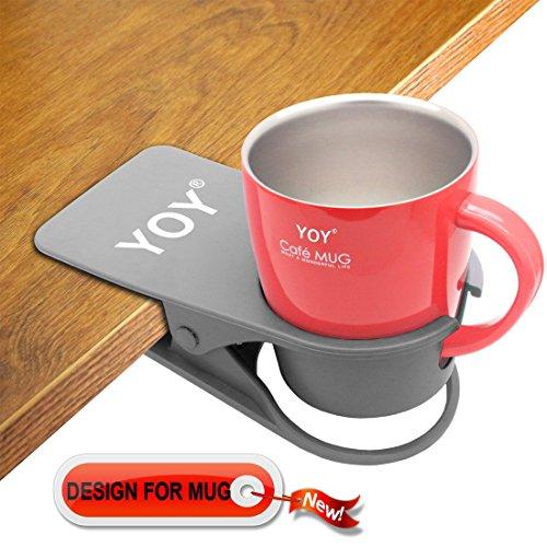 YOY Drink Cup Holder Clip - Table Desk Side Water Glass Beer Bottle Beverage Soda Coffee Mug Holder Cup Saucer Clip Design for Home Office, Gray