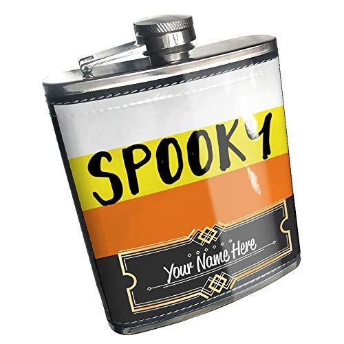 Neonblond Flask Spooky Halloween Candy Corn Custom Name Stainless Steel]()