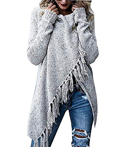 Womens Cardigans Shawls Wraps Poncho with Speckled Fringe Long Sleeve Knit Outwear Light Grey
