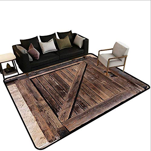 (Living Room Area Rug Rustic Decor Aged Sliding Door with Rustic Texture Authentic Vintage Architectural Rural Decorative Print Super Absorbs Mud5'6 x8'6 Brown)