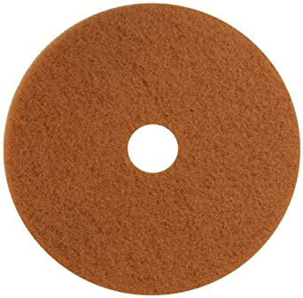"Glit 13322 TK Polyester Blend Tan Buff Polishing Floor Pad, Synthetic Blend Resin, Talc Grit, 22"" Diameter, 175 to 350 rpm (Case of 5)"
