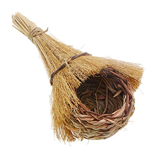 Saim Handwoven Bird House Nest with Reed Grass Bird Hut Birdhouse Pocket Provides Shelter from Cold Weather for Small Birds Finch & Canary