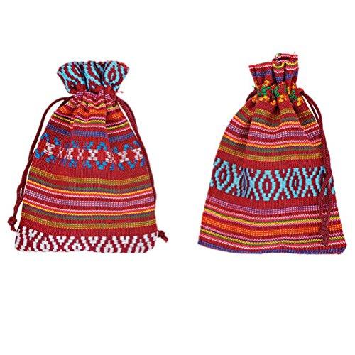 MJartoria 10 Striping Lozenge Colorful Cotton Linen Cloth Pouch Drawstring Jewelry Bags