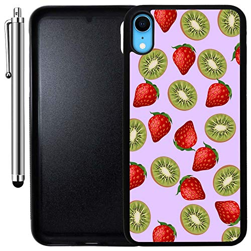 Custom Case Compatible with iPhone XR (Strawberry Kiwi Pattern) Edge-to-Edge Rubber Black Cover Ultra Slim | Lightweight | Includes Stylus Pen by Innosub