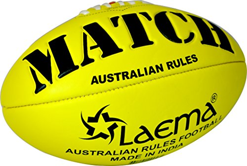 Laema Durable Soft Touch Embossed Grip Neon Colors AFL Australian Rules Footy Ball Size5 (YELLOW)