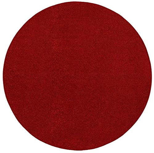 Home Cool Solid Colors Wind Dancer Collection Area Rugs Red - 8' Round