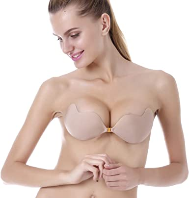Latest Women Strapless Silicone Bra Push-up Invisible Gel Covers Self Adhes JF