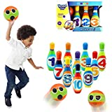 foreverwen Bowling Set Toy 10 Colorful Bowling Pins 2 Balls Indoor Toys Toss Sports Developmental Game for Active Party Family Games Children Boys Girls Easter Gifts Preschooler 3 4 5 6 Years Old