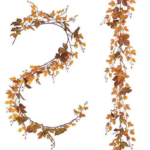 YQing 6,5Ft / Piece Fall Maple Leaf Garland – Artificial Fall Folland Garland Decoración de Acción de Gracias para el Banquete de Boda en casa Navidad (2 Piezas)