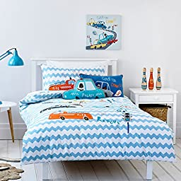 MakeTop Affixed Cloth Embroidered Fire Truck Police Car Pattern Kids Boys Bedding Set (Twin, 3 Pieces)