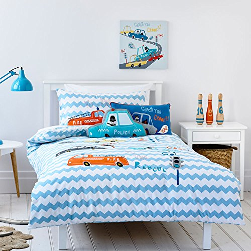 h Embroidered Fire Truck Police Car Pattern Kids Boys Bedding Set (Twin, 4 Pieces) ()