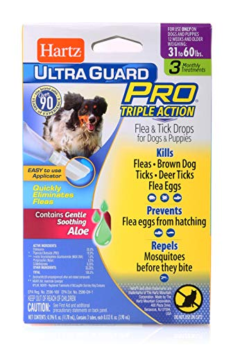 Hartz Ultra Guard Pro Flea & Tick Drops 31-60 Lbs { Brand Ne