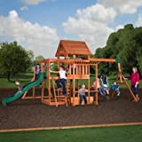 The Swingset Backyard Outdoor Wooden porch 2 belt swings and two bar 8' Safe Slide Wood Playground Monkey Bars Snack Stand 9 activities step ladder KidsPlayset kids are secure Lumber is pre-drilled