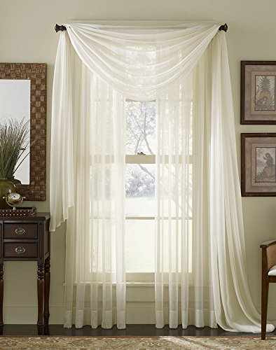 HLC.ME Ivory Sheer Voile Window Curtain Scarf - Valance - Fully Stitched & Hemmed - 56