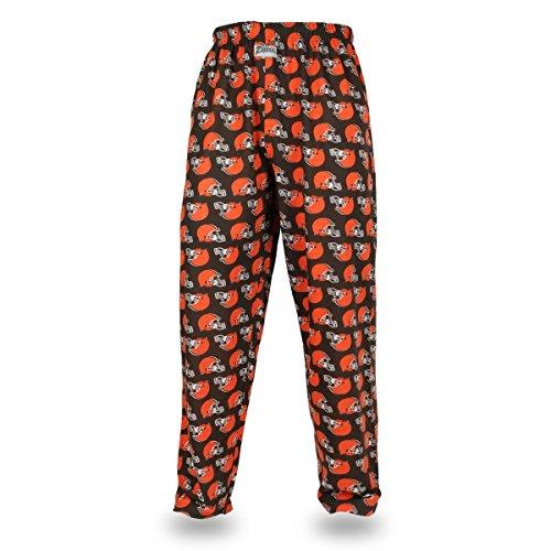 NFL Cleveland Browns Men's Zubaz Team Logo Print Comfy Jersey Pants, XX-Large, Brown