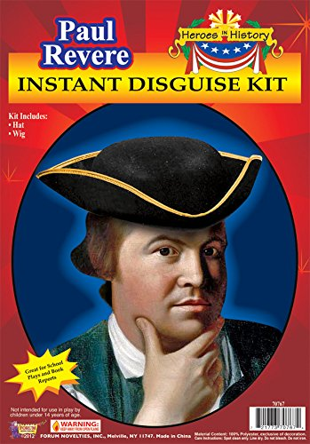 Forum Novelties Men's Heroes In History Instant Disguise Kit Paul Revere, Multi, One Size -