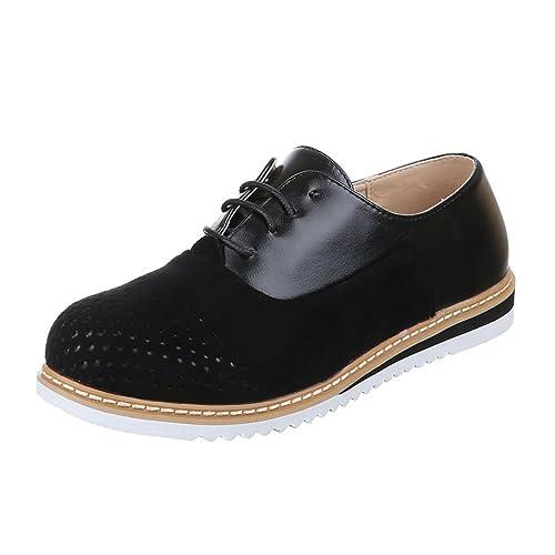 Ital-Design - Zapatos Planos con Cordones Mujer , color negro, talla 39